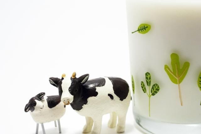牛の親子とおいしい牛乳