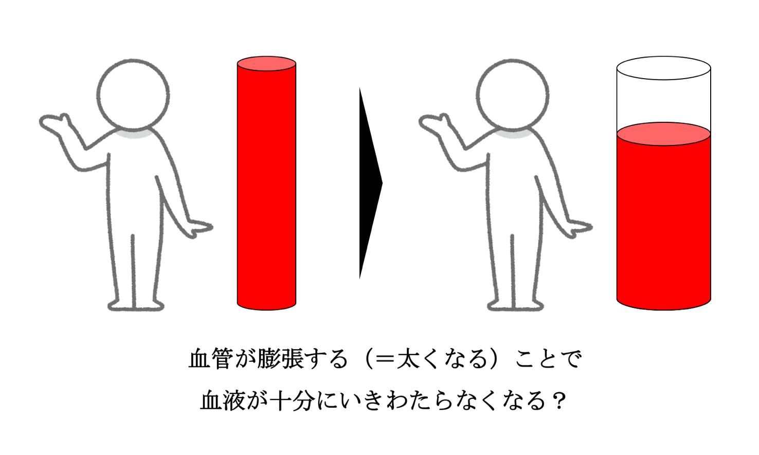 血管が膨張すると末端にいくための血液が不足する?